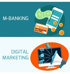 Concept of mobile banking digital marketing vector