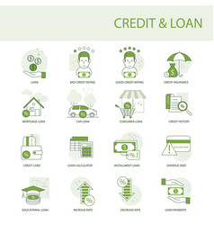 credit and loan a set simple icons vector image