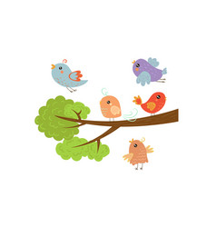 cute colorful birds on tree branches with green vector image