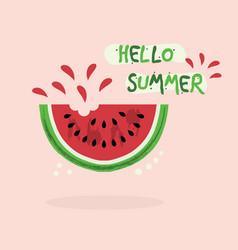 Cute red juicy hello summer watermelon icon vector