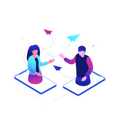 dating online - modern colorful isometric vector image