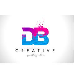 Db d b letter logo with shattered broken blue vector