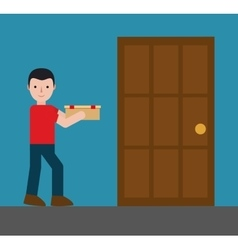 Delivery man carrying box icon image vector