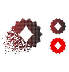 Dissipated dot halftone diamonds token icon vector