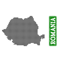 Dotted map of romania and grunge rectangle rounded vector