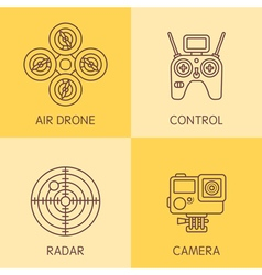 Drone Line Icons vector image