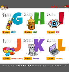 Educational cartoon alphabet letters set for vector