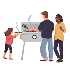 Family standing near barbecue grilling meat vector
