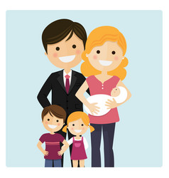 Family with two children and a newborn baby on vector