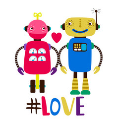 female and male robots in love print vector image