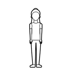 female character standing woman casual clothes vector image