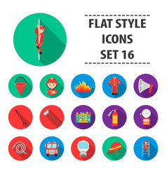 fire department set icons in flat style big vector image