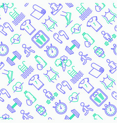 fitness seamless pattern with thin line icons vector image