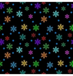 Flower color on black seamless pattern vector image vector image