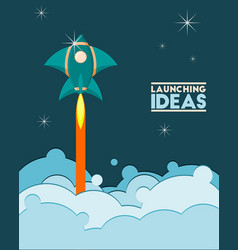 flying rocket cartoon on dark blue background vector image