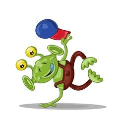 Funny cartoon alien breakdancer vector image