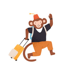 funny monkey going to vacation or travel waving vector image