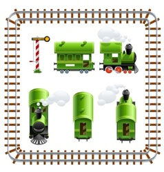 green vintage locomotive with vector image