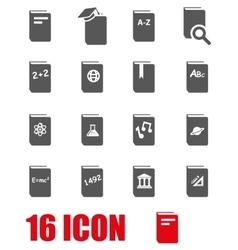 Grey schoolbook icon set vector