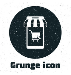 grunge mobile phone and shopping cart with striped vector image