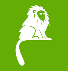 Hairy monkey icon green vector