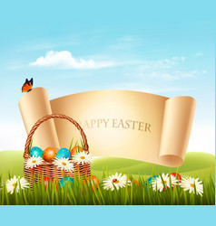 Happy easter background eggs in a basket vector