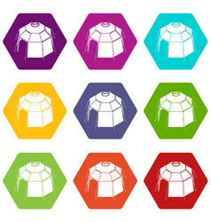 Hexagonal tent icons set 9 vector