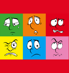 Human faces with different feelings vector