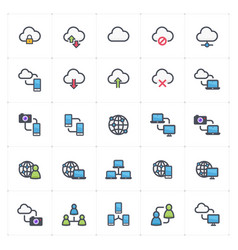 icon set - network and connectivity full color vector image