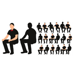 isolated silhouette man sitting with bow tie vector image