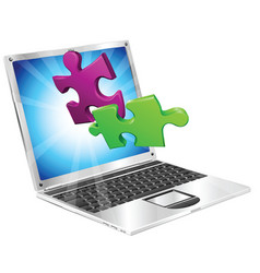 Jigsaw puzzle pieces flying out of laptop computer vector