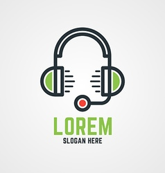 Logo Template Headphones with Microphone Hotline vector image