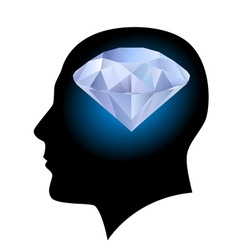 Man head and diamond vector image