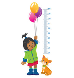 meter wall or height chart with girl and kitten vector image