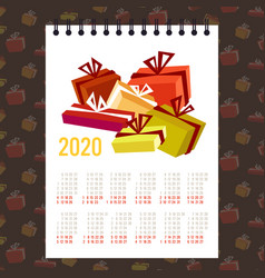Moon 2020 calendar gift present boxes merry vector