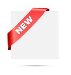 new - red corner silk ribbon design vector image