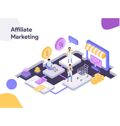 online shopping affiliate marketing isometric vector image
