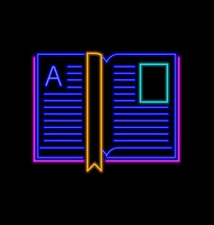 Open book neon sign bright glowing symbol on a vector