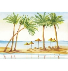 Palm alley watercolor painting vector