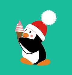 Penguin with ice cream vector