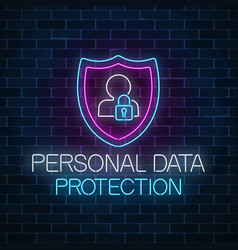 Personal data protection glowing neon sign vector