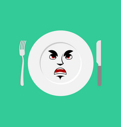 Plate angry emoji empty dish isolated aggressive vector