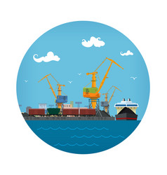 port warehouses and cranes vector image