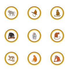 Primate icons set cartoon style vector