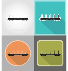 Railway transport flat icons 02 vector