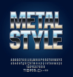 reflective silver metall style alphabet vector image