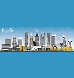 Riyadh saudi arabia city skyline with color vector