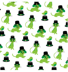 saint patricks day cats dogs birds pattern vector image