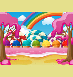 Scene with icecream and lolipops vector