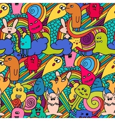 Seamle pattern Funny monsters graffiti vector